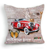 Antique Square Old Car Design Decor Fabric Cushion W/Filling