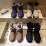 Winter Wedge Shoes Sheepskin Boots for Women in Black