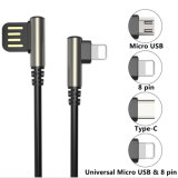 Right Angle Data Sync Charging USB Cable for iPhone for Android for Type C