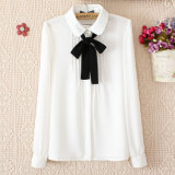 Long Sleeve Chiffon Shirt College Wind White Shirt for Women Lady Shirt