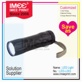 Imee Wholesale Logo Size Shape Material Customized Plastic Metal Acrylic Black Flashlight LED