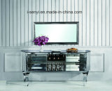 Multi-Storey Stainless Steel Sideboard with Tempered Glass Top
