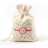 Wholesale Customized Design Festival Seasonal Gift Christmas Food Portable Reusable Promotion Pouch Packing Double Pull Cord Muslin Canvas Cotton Drawstring Bag