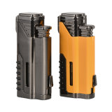 Custom Logo Quad Jet Flame Windproof Torch Cigar Lighter with Punch