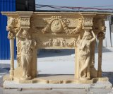 Column Lady Statue Carved Marble Fireplace with Flowers (SY-MF178)