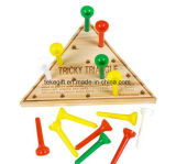 Wooden Triangle Peg Board Game Toy for Kids Gifts