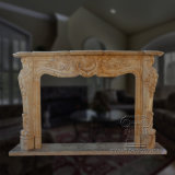 Classic Yellow Marble Fireplace Indoor Decorationwith Carving Flowers