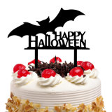 Happy Halloween Bat Cake Toppers Paper Cupcake Flags Cake Toppers for Halloween Decoration DIY Baking Accessories