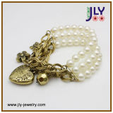 Wholesale Alloy Antique Gold Plating Pearl Fashion Jewelry Charm Bracelet