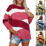 Contrast Geometry Colorful Straps Knitting Sweaters, Women Crew Neck Pullover, Ladies Sweaters