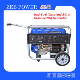 8kw Dual Fuel Gasoline and LPG Portable Generators with Handrail and Wheels