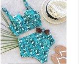 New Hot Women Swimsuit Swimwear High Neck Lace Lace Waist Bathing Suit Sling Side Beachwear
