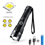20W 1500lumen 5 Lightings Modes Zoomable Torches Handheld Tactical Aluminium Body USB Rechargeable Xhp50 LED Flashlights