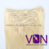 Wholesale Top Quality Blond 100% Brazilian Hair Clip in Human Hair Extension