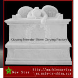Marble Stone Carving White Tombstone Kneeling Angel (NS-508)