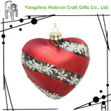 Traditional Color Heart-Shaped Glass Festival Craft Gift, Combination of Shinny and Mat, Pattern Can Be Customized