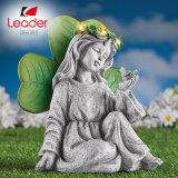 Solar Irish Angel and Shamrock Garden Stone Statue, Solar Angel Statue