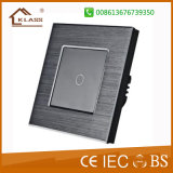 1 Gang 1 Way Brushed Alluminum Touch Light Switch