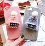 New Fashion Warm Fur Ball Case Plush 3D Hat Cell Phone Case for iPhone