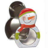 Snow Man Printed Tin Gift Box with Round PVC Window