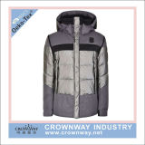 Yarn Dye Melange Grey Hooded Warm Padded Winter Jacket for Women