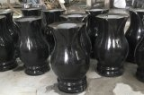 Wholesale Polished Hebei Black Granite Flower Vases for Tombstones