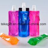 Wholesale Flat BPA Free 500ml 16oz Clear Collapsible Custom Printed Plastic Kids Sport Foldable Water Bottle
