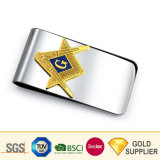 Bulk Cheap Functional Tactical Customized Double Sided Logo Fancy Dragon Cool Blank Metal 925 Sterling Silver Engraved Freemason Custom Money Clip for Wallets