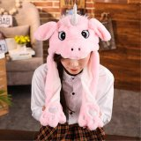 2019 Hot New Style Attractive Kids Cuddly Moving Ear Plush Unicorn Hat Soft Hamster Hat Dance Plush Toy for Gift