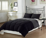 3-Piece Black Grey Super Soft Cotton Alternative Reversible Comforter Bedding Set, Queen/Full