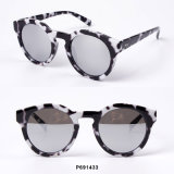 New Fashion Women Plastic Round Sunglasses with Demi