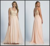 Coral Prom Gowns Lace A-Line Bridesmaid Evening Dress M128