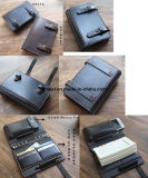 A6 Leather Wallets Notebook Memo with Card Cellphone Pen Holder