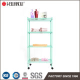Mintcream Color Adjustable 4 Shelf Storage Home Metal Wire Rack Shelving with Wheels
