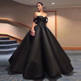 off Shoulder Black Puffy Bridal Ball Gown Crystal Custom Satin Wedding Dresses Wd99
