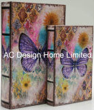 S/2 Colorful Butterfly Design PU Leather/MDF Wooden Printing Storage Book Box