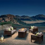 Rattan Garden Furniture Sectional Couch Aluminum Outdoor Sofa Set with Fire Pit