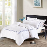 Deep Sleep Home Duvet Cover Set Navy Blue Embroidered Lines