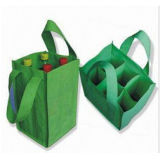 Non Woven 6-Bottle Wine Tote Bag with Storage Compartment for Promotion