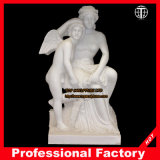 Hand Carved Woman with Angel Marble Statue