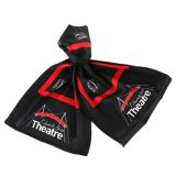 Classic Red and Black 100% Silk Printed Logo Scarf