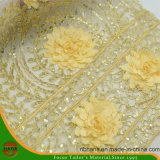 Hans Promotion Cheap Pirce Embroidery Polyester Fabric with Stone