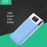 8000mAh cubierta de cuero de la pantalla LED de celular Universal del Banco de potencia portátil para el iPad