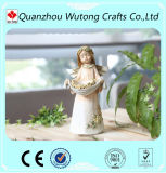 Beau support de bougie de lumière de thé d'ange de couleur de résine à la maison de décoration