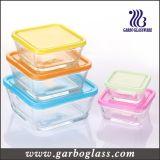 5PCS de vierkante die Kom van het Glas met de Verschillende Deksels van de Kleur (GB1409) wordt geplaatst