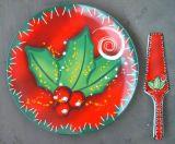 De versterkte Plaat van de Cake van het Porselein met het Thema van Kerstmis