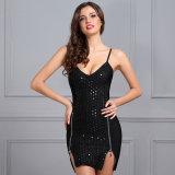 Фрикционная платье платье черного цвета с блестящей поверхностью в горловину порванный жгут без рукавов платья