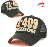 Черный с ячеистой сети свободы Trucker вернуться Red Hat в бедственном положении Vintage с нетерпением