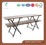 2 Visor de varejo em camadas mesa com tampo de madeira