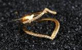 Anillos en forma de corazón dobles exquisitos de lujo del Oro-Color del anillo para la joyería de Color Aneis De Ouro Zirconia de la manera de las mujeres